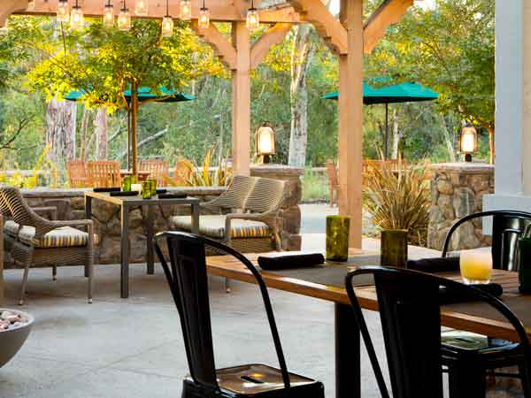 Patio during the day at River Terrace Inn in Napa Valley, California