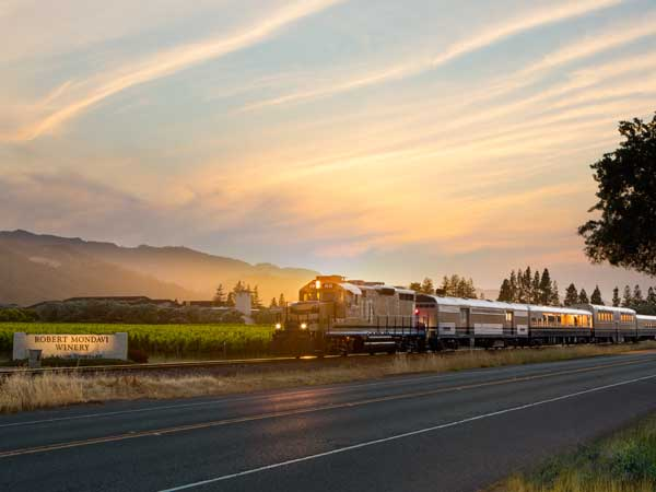 Wine Train and sunset in Napa Valley, California